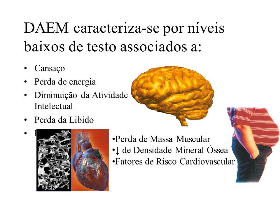 DAEM caracteriza-se por níveis baixos de testo associados a: Cansaço Perda de energia Diminuição da Atividade Intelectual Perda da Libido Disfunção Er