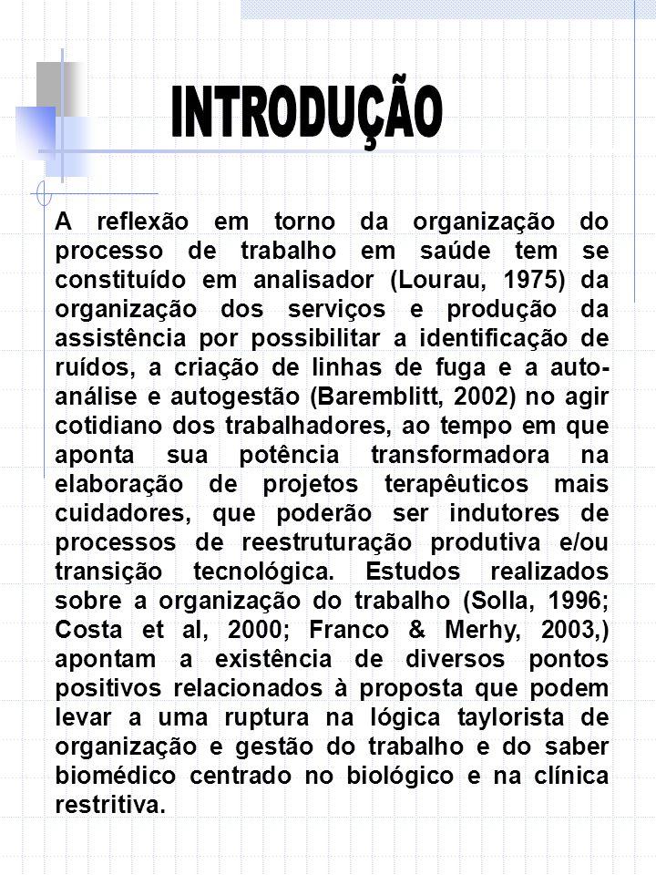 A reflexão em torno da organização do processo de trabalho em saúde tem se constituído em analisador (Lourau, 1975) da organização dos serviços e prod