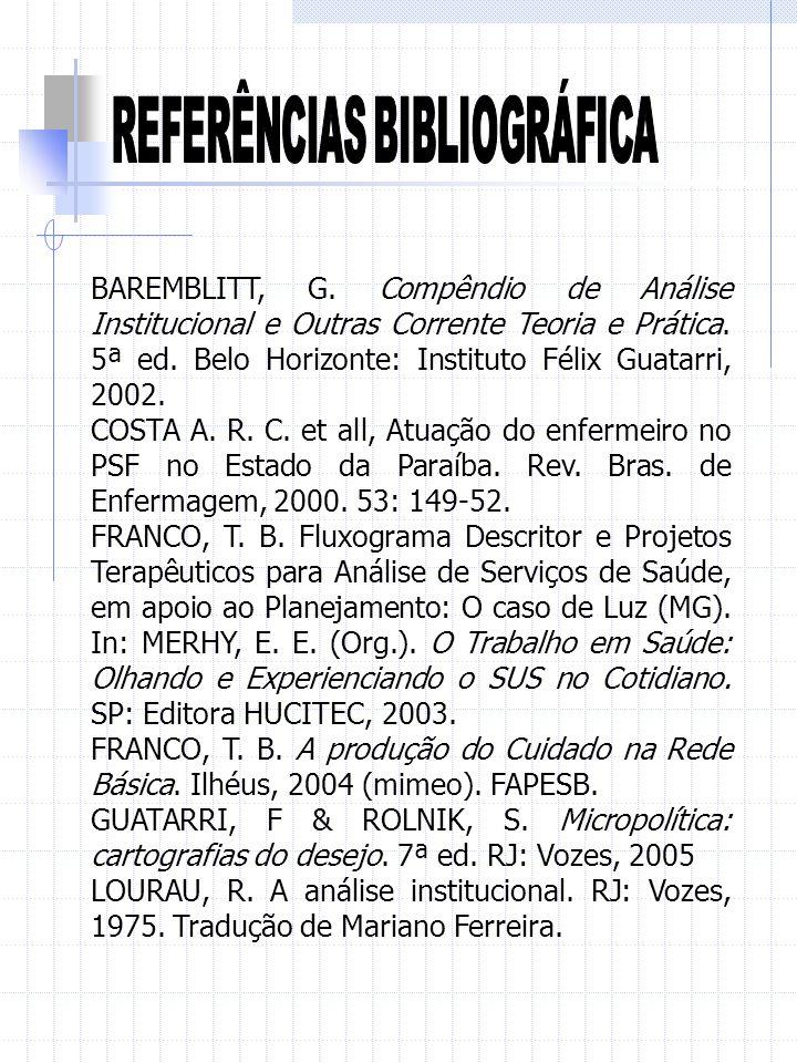 BAREMBLITT, G. Compêndio de Análise Institucional e Outras Corrente Teoria e Prática. 5ª ed. Belo Horizonte: Instituto Félix Guatarri, 2002. COSTA A.