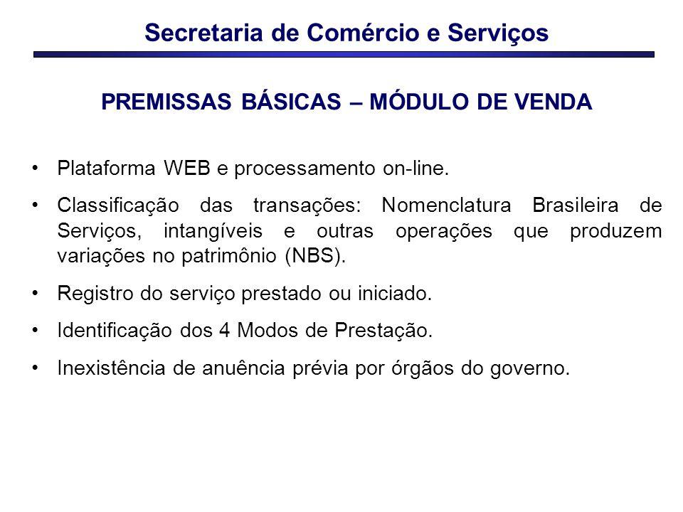 Secretaria de Comércio e Serviços Plataforma WEB e processamento on-line. Classificação das transações: Nomenclatura Brasileira de Serviços, intangíve
