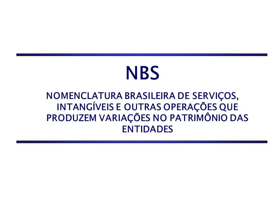 NBS NOMENCLATURA BRASILEIRA DE SERVIÇOS, INTANGÍVEIS E OUTRAS OPERAÇÕES QUE PRODUZEM VARIAÇÕES NO PATRIMÔNIO DAS ENTIDADES