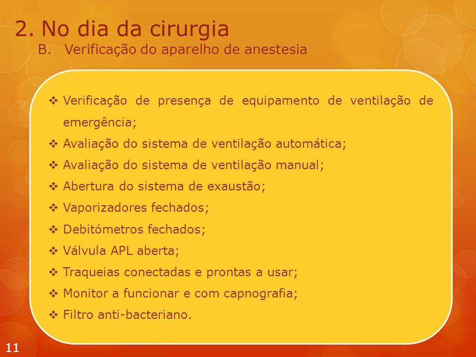  Verificação de presença de equipamento de ventilação de emergência;  Avaliação do sistema de ventilação automática;  Avaliação do sistema de venti