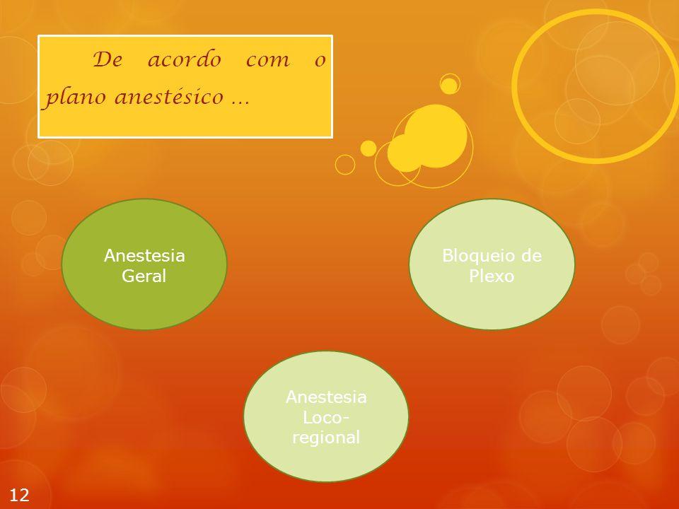 12 De acordo com o plano anestésico … Anestesia Geral Anestesia Loco- regional Bloqueio de Plexo