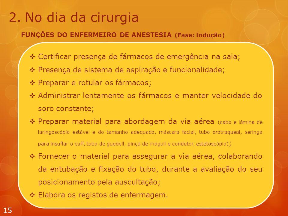  Certificar presença de fármacos de emergência na sala;  Presença de sistema de aspiração e funcionalidade;  Preparar e rotular os fármacos;  Admi