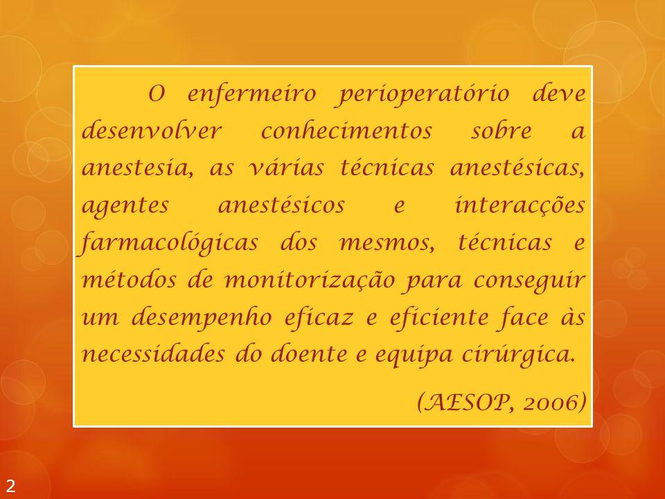 O enfermeiro perioperatório deve desenvolver conhecimentos sobre a anestesia, as várias técnicas anestésicas, agentes anestésicos e interacções farmac