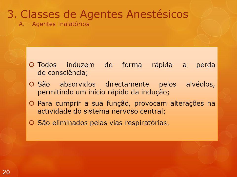 3.Classes de Agentes Anestésicos A.Agentes inalatórios  Todos induzem de forma rápida a perda de consciência;  São absorvidos directamente pelos alv