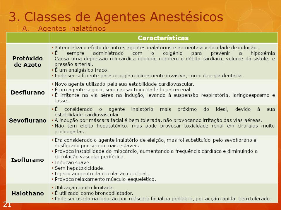 3.Classes de Agentes Anestésicos A.Agentes inalatórios 21 Características Protóxido de Azoto Potencializa o efeito de outros agentes inalatórios e aumenta a velocidade de indução.