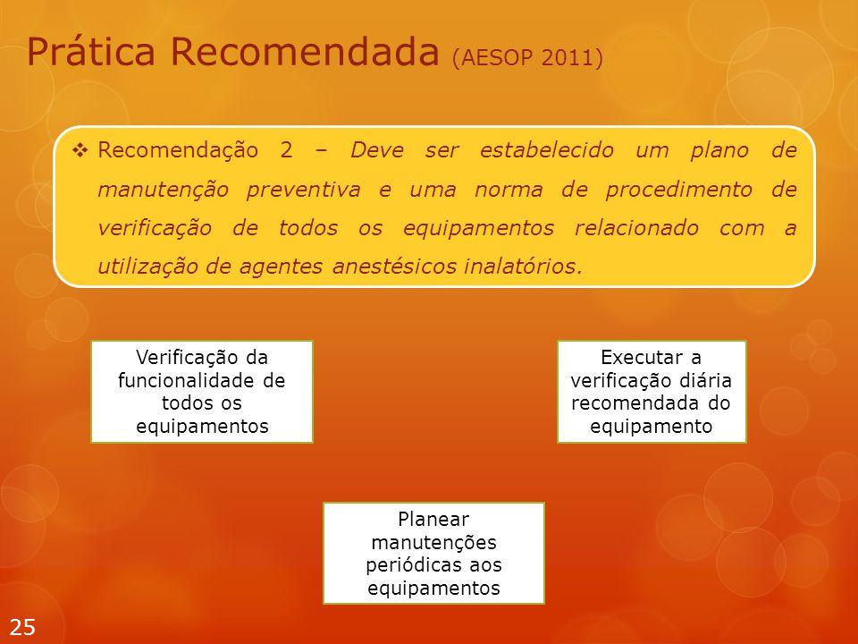  Recomendação 2 – Deve ser estabelecido um plano de manutenção preventiva e uma norma de procedimento de verificação de todos os equipamentos relacionado com a utilização de agentes anestésicos inalatórios.