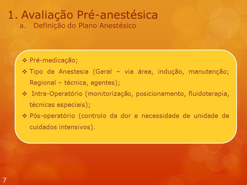 7 1.Avaliação Pré-anestésica a.Definição do Plano Anestésico  Pré-medicação;  Tipo de Anestesia (Geral – via área, indução, manutenção; Regional – técnica, agentes);  Intra-Operatório (monitorização, posicionamento, fluidoterapia, técnicas especiais);  Pós-operatório (controlo da dor e necessidade de unidade de cuidados intensivos).