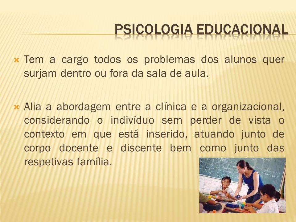  Tem a cargo todos os problemas dos alunos quer surjam dentro ou fora da sala de aula.  Alia a abordagem entre a clínica e a organizacional, conside