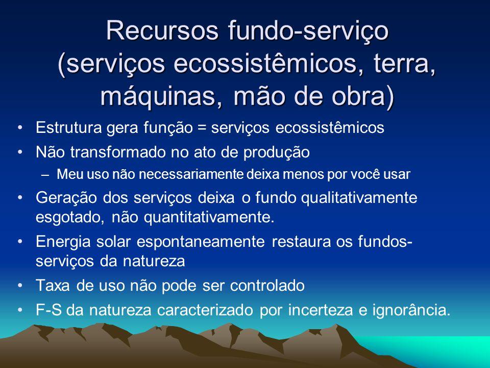 Recursos fundo-serviço (serviços ecossistêmicos, terra, máquinas, mão de obra) Estrutura gera função = serviços ecossistêmicos Não transformado no ato