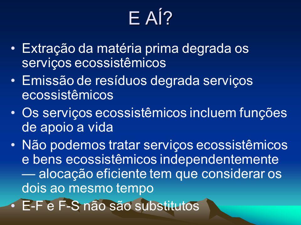 E AÍ? Extração da matéria prima degrada os serviços ecossistêmicos Emissão de resíduos degrada serviços ecossistêmicos Os serviços ecossistêmicos incl