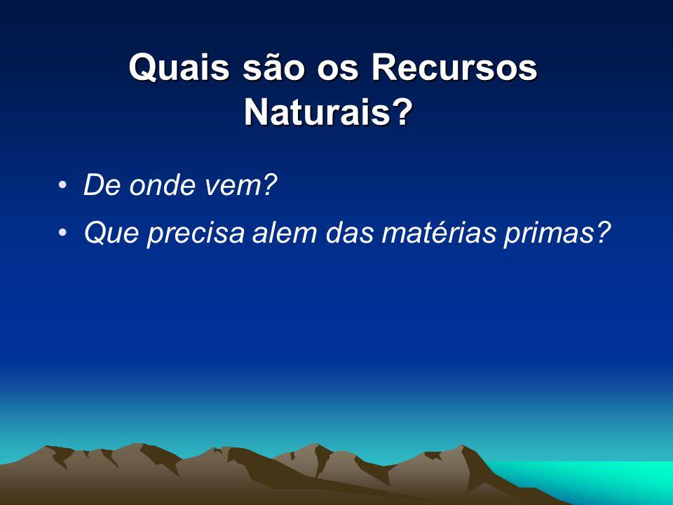 Quais são os Recursos Naturais? Quais são os Recursos Naturais? De onde vem? Que precisa alem das matérias primas?