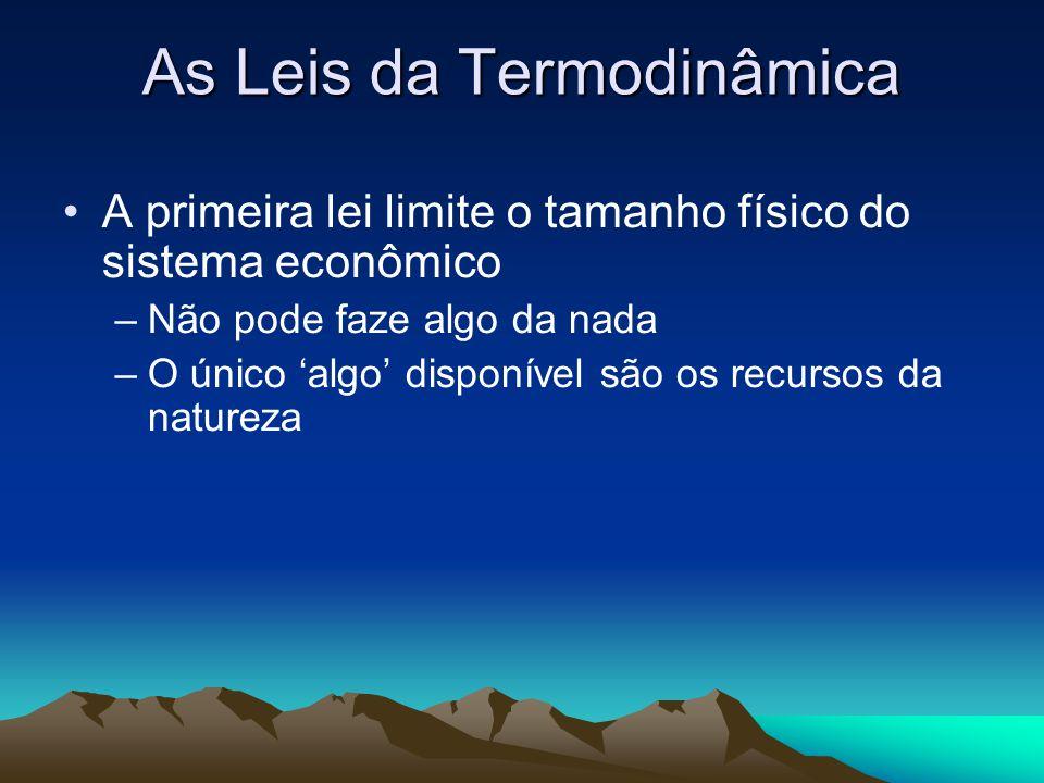 As Leis da Termodinâmica A primeira lei limite o tamanho físico do sistema econômico –Não pode faze algo da nada –O único 'algo' disponível são os rec