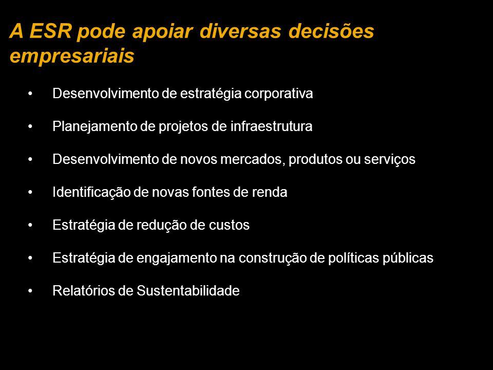 A ESR pode apoiar diversas decisões empresariais Desenvolvimento de estratégia corporativa Planejamento de projetos de infraestrutura Desenvolvimento de novos mercados, produtos ou serviços Identificação de novas fontes de renda Estratégia de redução de custos Estratégia de engajamento na construção de políticas públicas Relatórios de Sustentabilidade