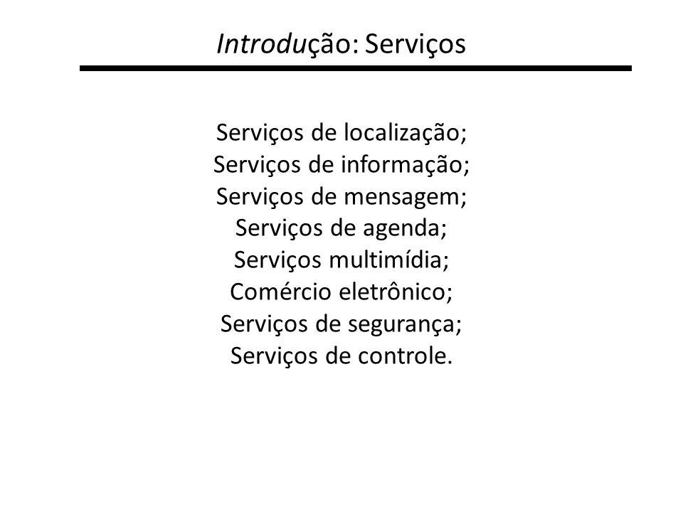 Introdução: Serviços Serviços de localização; Serviços de informação; Serviços de mensagem; Serviços de agenda; Serviços multimídia; Comércio eletrôni