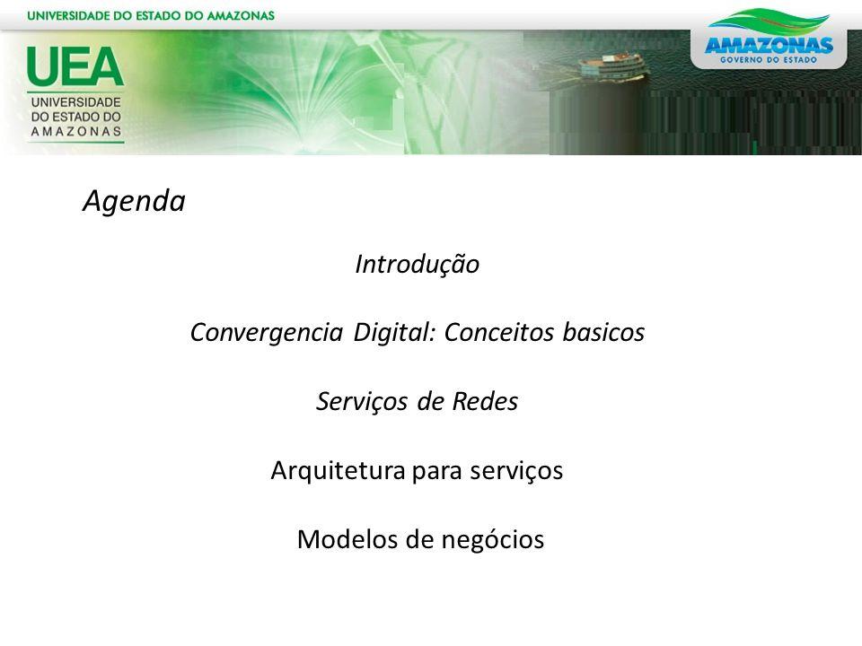 Agenda Introdução Convergencia Digital: Conceitos basicos Serviços de Redes Arquitetura para serviços Modelos de negócios