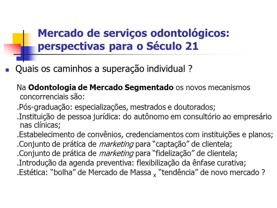 Mercado de serviços odontológicos: perspectivas para o Século 21 Quais os caminhos a superação individual ? Na Odontologia de Mercado Segmentado os no