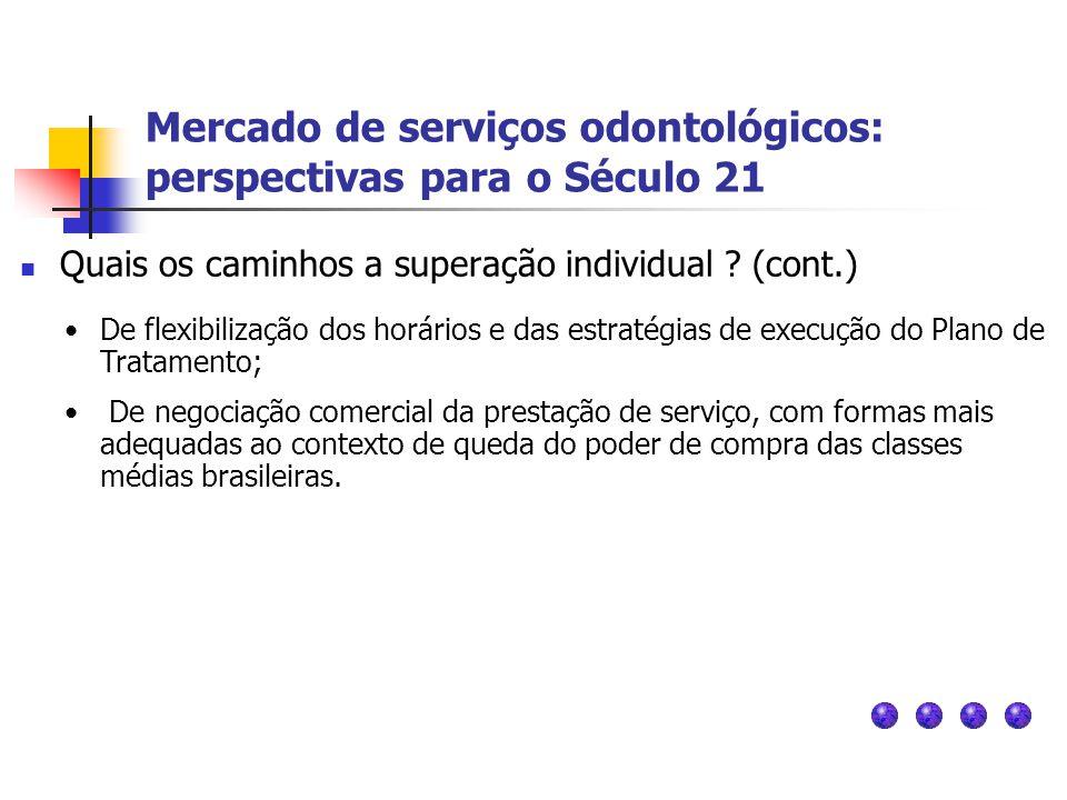 Mercado de serviços odontológicos: perspectivas para o Século 21 Quais os caminhos a superação individual ? (cont.) De flexibilização dos horários e d