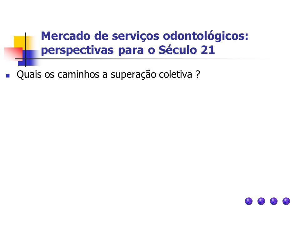 Mercado de serviços odontológicos: perspectivas para o Século 21 Quais os caminhos a superação coletiva ?