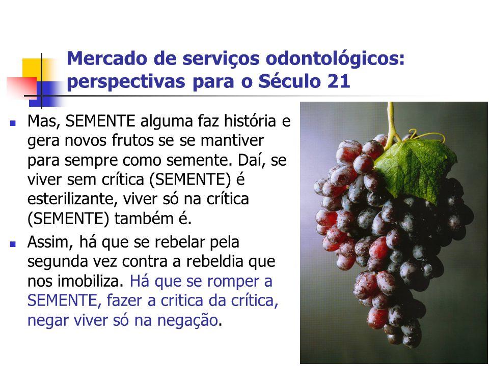 Mercado de serviços odontológicos: perspectivas para o Século 21 Mas, SEMENTE alguma faz história e gera novos frutos se se mantiver para sempre como