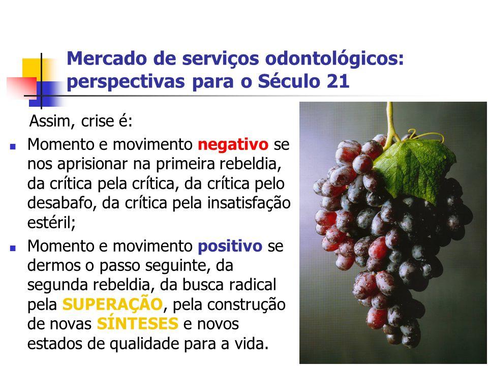 Mercado de serviços odontológicos: perspectivas para o Século 21 Assim, crise é: Momento e movimento negativo se nos aprisionar na primeira rebeldia,