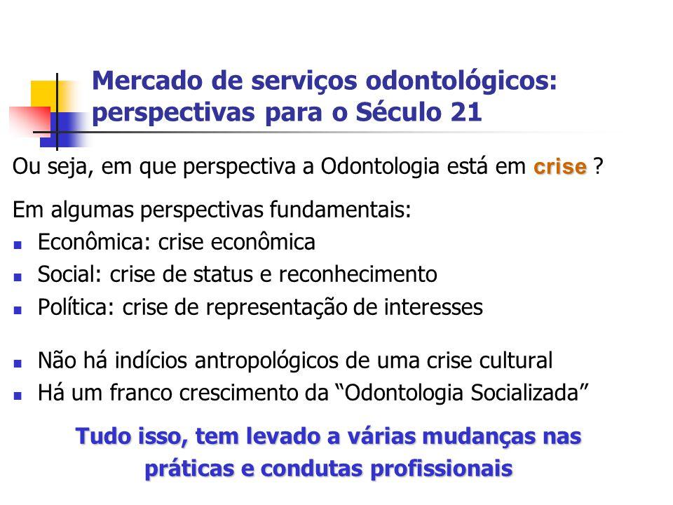 Mercado de serviços odontológicos: perspectivas para o Século 21 crise Ou seja, em que perspectiva a Odontologia está em crise ? Em algumas perspectiv