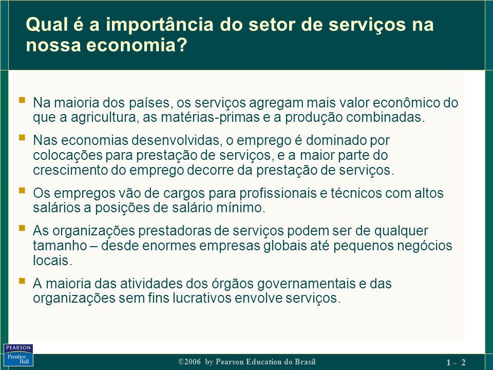 ©2006 by Pearson Education do Brasil 1 - 13 Implicações do marketing – 2  Elementos intangíveis dominam a criação de valor  Compreensão do valor agregado pela mão-de-obra e pela expertise do pessoal.