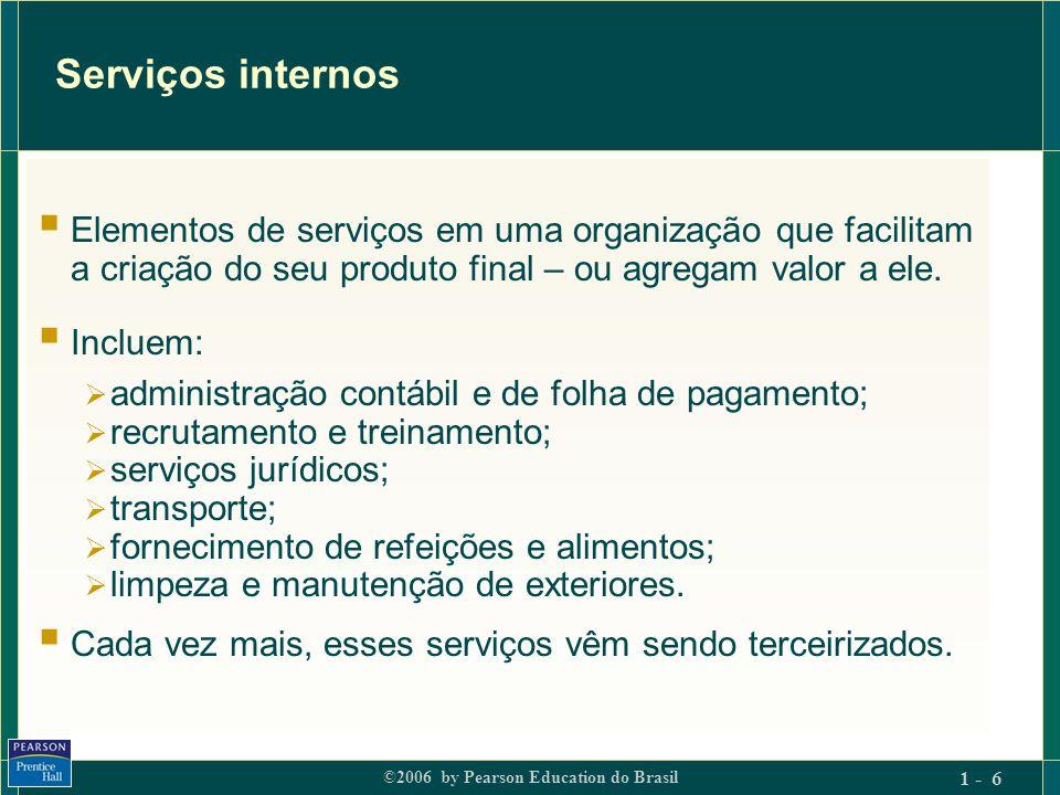 ©2006 by Pearson Education do Brasil 1 - 27 Os 7Ps: (1) Elementos do produto Todos os aspectos do desempenho de serviço que criam valor.