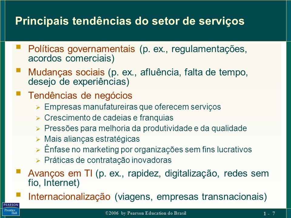 ©2006 by Pearson Education do Brasil 1 - 8 Alguns impactos da mudança tecnológica  Altera radicalmente as maneiras como as empresas de serviços fazem negócios:  com clientes (novos serviços, maior conveniência);  nos bastidores (reengenharia, cadeias de novos valores).