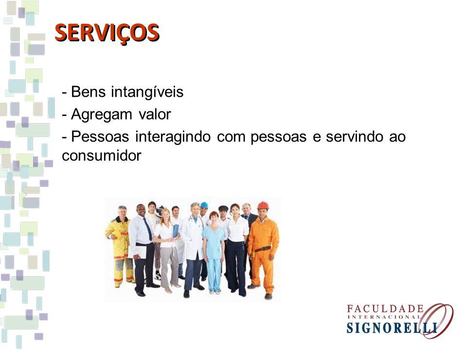 - Bens intangíveis - Agregam valor - Pessoas interagindo com pessoas e servindo ao consumidor SERVIÇOS
