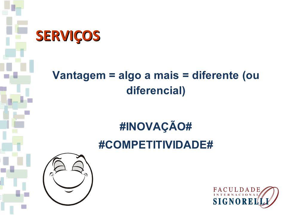 Vantagem = algo a mais = diferente (ou diferencial) #INOVAÇÃO# #COMPETITIVIDADE#