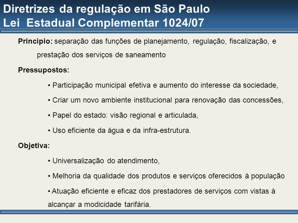 Diretrizes da regulação em São Paulo Lei Estadual Complementar 1024/07 Principio: separação das funções de planejamento, regulação, fiscalização, e pr