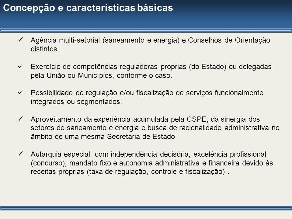 Concepção e características básicas Agência multi-setorial (saneamento e energia) e Conselhos de Orientação distintos Exercício de competências regula