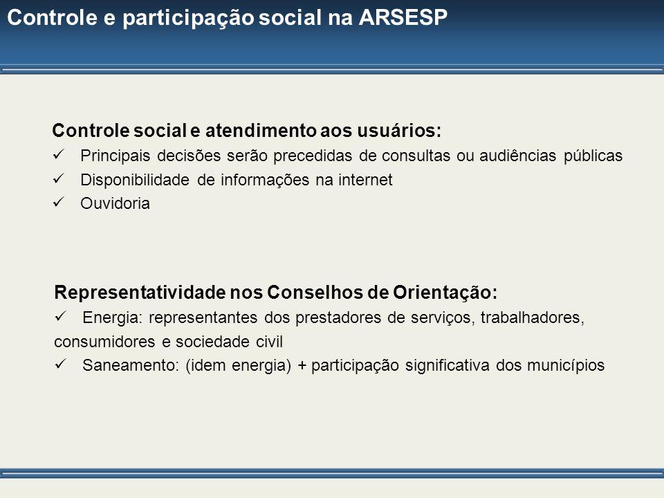 Controle e participação social na ARSESP Controle social e atendimento aos usuários: Principais decisões serão precedidas de consultas ou audiências p