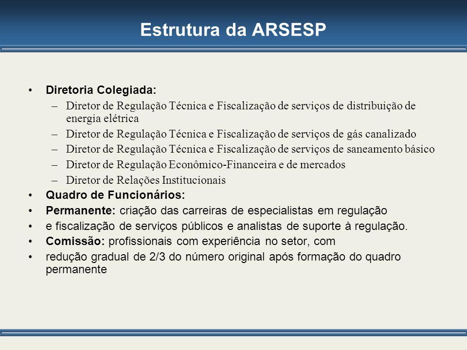 Estrutura da ARSESP Diretoria Colegiada: –Diretor de Regulação Técnica e Fiscalização de serviços de distribuição de energia elétrica –Diretor de Regu