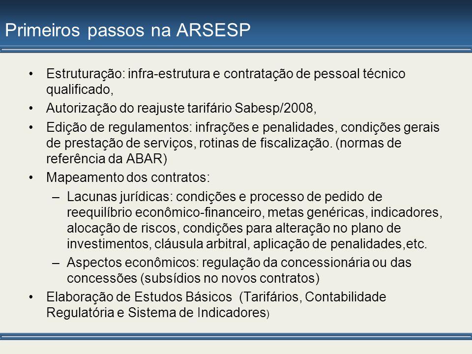 Primeiros passos na ARSESP Estruturação: infra-estrutura e contratação de pessoal técnico qualificado, Autorização do reajuste tarifário Sabesp/2008,