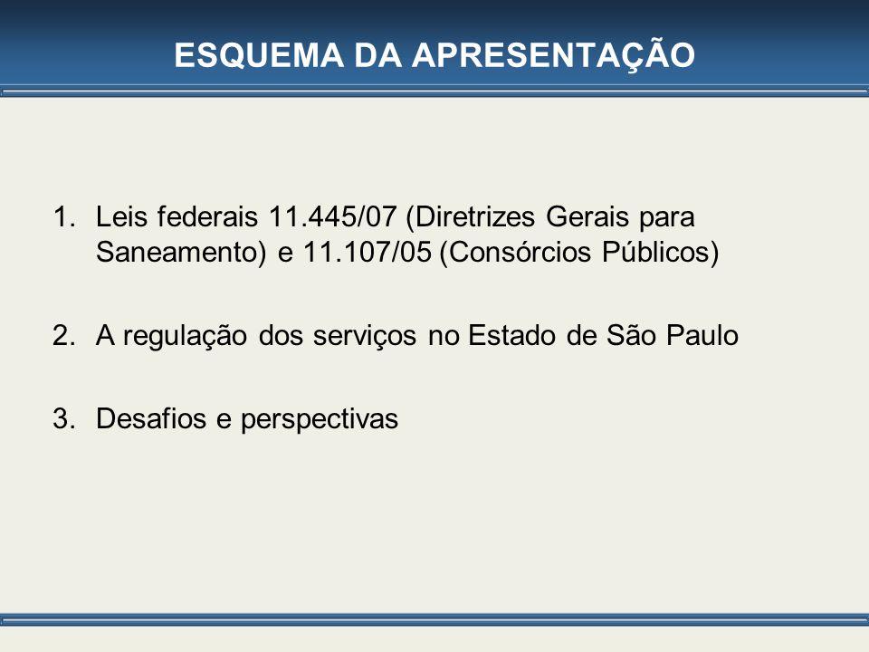 ESQUEMA DA APRESENTAÇÃO 1.Leis federais 11.445/07 (Diretrizes Gerais para Saneamento) e 11.107/05 (Consórcios Públicos) 2.A regulação dos serviços no