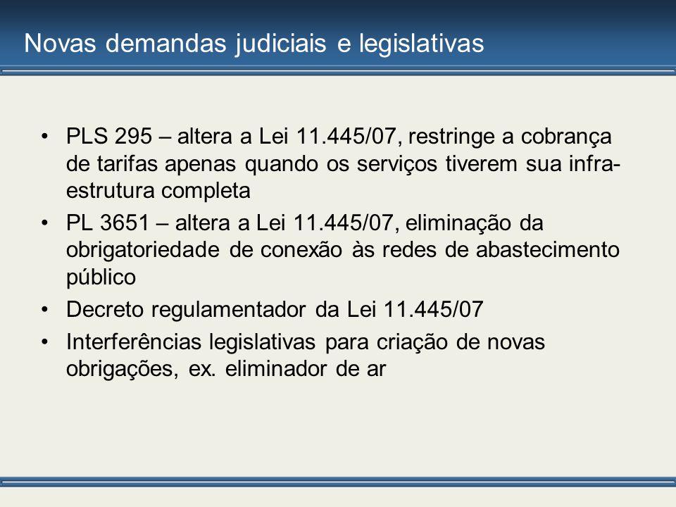 Novas demandas judiciais e legislativas PLS 295 – altera a Lei 11.445/07, restringe a cobrança de tarifas apenas quando os serviços tiverem sua infra-