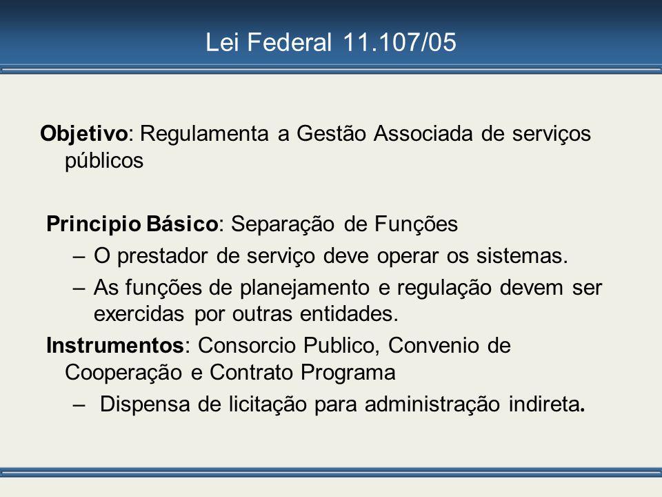 Lei Federal 11.107/05 Objetivo: Regulamenta a Gestão Associada de serviços públicos Principio Básico: Separação de Funções –O prestador de serviço dev