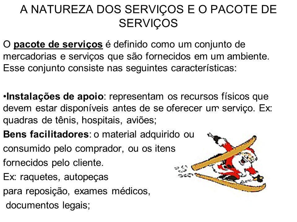 A NATUREZA DOS SERVIÇOS E O PACOTE DE SERVIÇOS O pacote de serviços é definido como um conjunto de mercadorias e serviços que são fornecidos em um amb