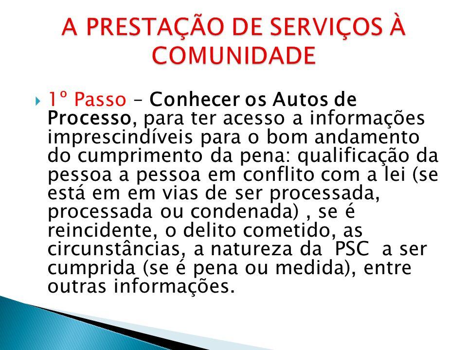  1º Passo – Conhecer os Autos de Processo, para ter acesso a informações imprescindíveis para o bom andamento do cumprimento da pena: qualificação da
