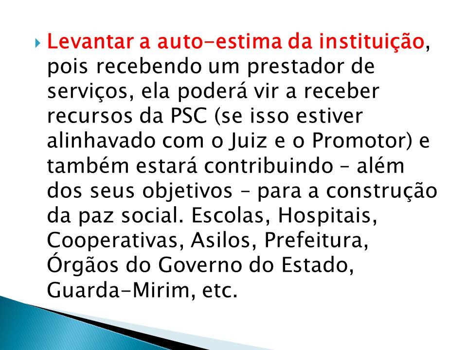  Levantar a auto-estima da instituição, pois recebendo um prestador de serviços, ela poderá vir a receber recursos da PSC (se isso estiver alinhavado