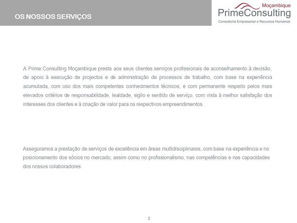 3 A Prime Consulting Moçambique presta aos seus clientes serviços profissionais de aconselhamento à decisão, de apoio à execução de projectos e de adm