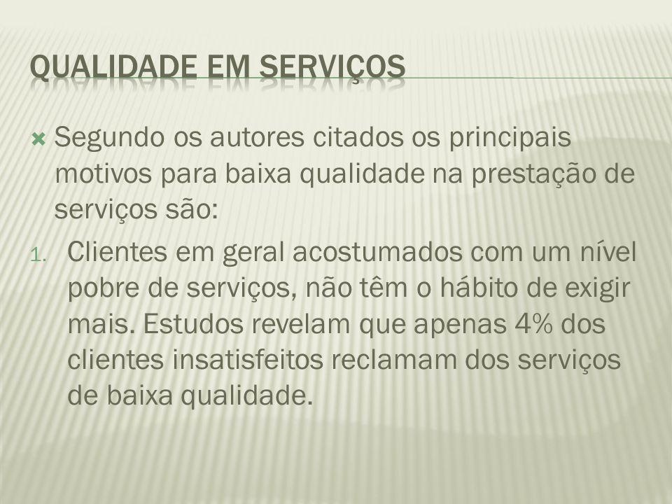  Segundo os autores citados os principais motivos para baixa qualidade na prestação de serviços são: 1. Clientes em geral acostumados com um nível po