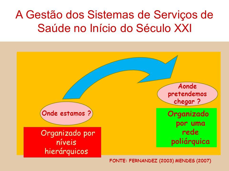 Onde estamos ? Organizado por níveis hierárquicos Aonde pretendemos chegar ? Organizado por uma rede poliárquica FONTE: FERNANDEZ (2003) MENDES (2007)