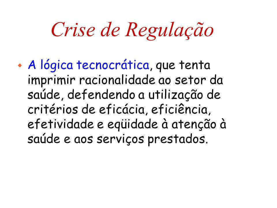 Crise de Regulação w A lógica tecnocrática, que tenta imprimir racionalidade ao setor da saúde, defendendo a utilização de critérios de eficácia, efic