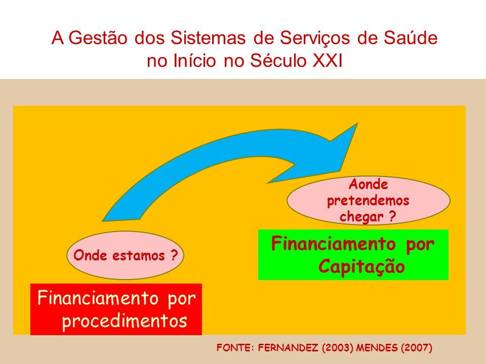 Onde estamos ? Financiamento por procedimentos Aonde pretendemos chegar ? Financiamento por Capitação FONTE: FERNANDEZ (2003) MENDES (2007) A Gestão d