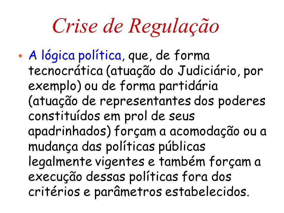 Crise de Regulação w A lógica política, que, de forma tecnocrática (atuação do Judiciário, por exemplo) ou de forma partidária (atuação de representan