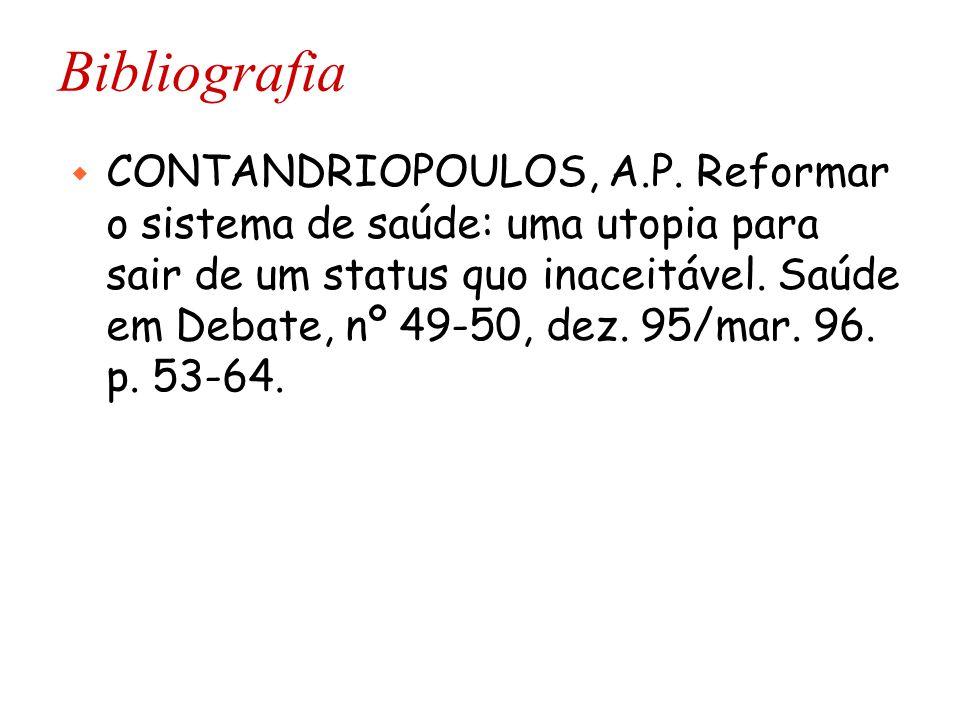 Bibliografia w CONTANDRIOPOULOS, A.P. Reformar o sistema de saúde: uma utopia para sair de um status quo inaceitável. Saúde em Debate, nº 49-50, dez.